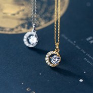 Fashion Crescent Moon Diamond Crystal Silver Women's Necklace
