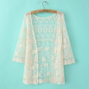 Sexy Hollow Out Gauze Lace Cardigan &Sunscreen Shawl