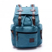 Retro Navy Blue Belt Decoration Canvas Backpack