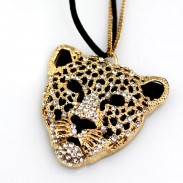 Bohemia Leopard Head Hollow Sweater Necklace
