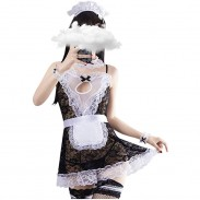 Sexy Bow Cosplay Lingerie Outfit Naughty Anime Maid Babydoll Lace French Maid Apron Costume Women's Lingerie