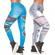 Leisure Denim Digital Ragged Jeans Printed Hip-lifting Stretch High-waist Leggings