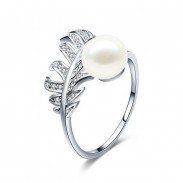 Cute Plume Girl's Ring Feather Pearl Open Silver Ring