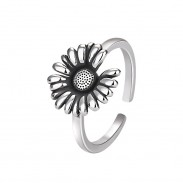 Vintage Sunflower Ring Floral Boho Rings Bride Wedding Gifts Daisy Promise Women Silver Open Ring