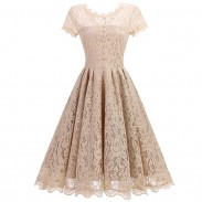 Sweet Women's Retro Splicing Lace Hollow-out See Through Party Umbrella Skirt Dress