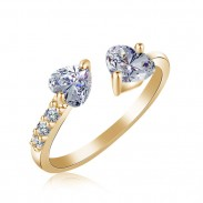Romantic Double Heart Full Open Adjustable Diamond Ring