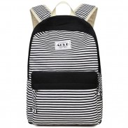 Sweet Stripes Designed Student Bag Fresh Striped Canvas Girl's School Backpack