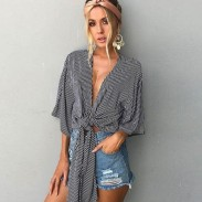 Wrap-and-tie Bare-midriff tops Half Sleeves Chest Wrap Sexy Girl's Strips Shirt