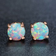 Vintage Bridal Earrings Studs Unique Design Round Cute Opal Stud Earring