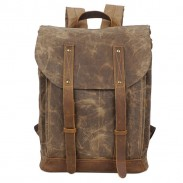 Retro Waterproof Canvas Splicing Leather Belt Flap Vintage School Travel Man Backpack