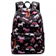 Cute Bird Horse Cat Dog Head Large Canvas School Animal Backpack