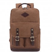 Retro Outdoor Travel Rucksack Large Two Pockets Student Canvas Backpack