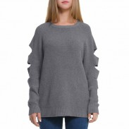 Women's Ripped Simple Whole Color Unique Long Sleeves Sweater