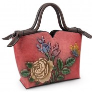 Retro 3D Flower Leaves Butterfly Embossing Handmade Handbag Shoulder Bag