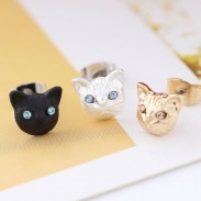 Cute Animal Accessories Cat Face Earrings Girls Kitten Earring Studs