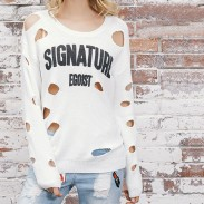 Ripped Letter Printing Unique Girl's Irregular Sweater