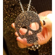 Retro Skull  Printed Pendant& Sweater Necklace