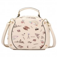 Cute Lady Bag Cartoon Princess Printing Sweet Black Beige Shoulder Bags