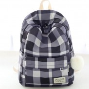 Fresh Lattice School Bag Grid Large College Canvas Backpack