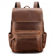 Retro Thick Leather British Style Simple Handmade Original Men School Backpack
