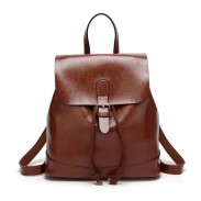 Fashion Simple School Bag Single Buckle PU Women Backpack