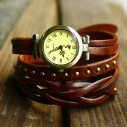 fashion woven rivets leather 3 circles retro watch