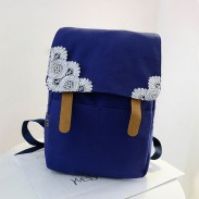 Sweet Crochet Lace Pure Color Canvas Backpacks