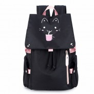 New Cartoon Black Fluorescence Cat Drink Large Capacity Computer Backpack Flower Waterproof School Backpack
