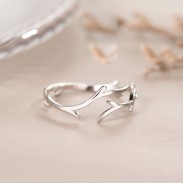 Fashion Elk Antlers Branches Sterling Silver Gift Jewelry For Her Adjustable Open Ring