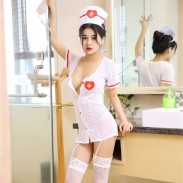 Sexy Nurse Cosplay Uniform Innocent Temptation Short Nightdress Female Stocking Lingerie