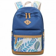 Fresh Leaves Patterns Printing Designed School Bag Leisure College Canvas Backpack