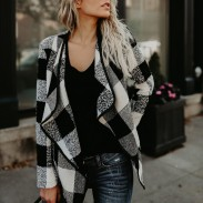 Elegant Casual Plaid Lapels Woolen Lattice Coat Women's Jacket