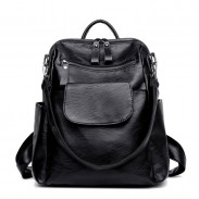 Leisure Pure Color Black Multifunction Student Shoulder Bag PU School Backpacks