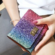 Fashion Shining Gradient Rainbow Purse Clutch Bag Bling Sequin Zipper Wallet