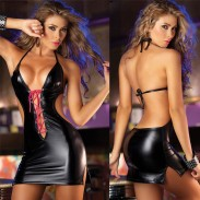 Sexy Women's Cosplay Halter Backless Front Cross-strap Patent Pole Dance Sleepwear Leather Lingerie