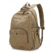 Retro Simple School Bag Man Travel Rucksack Camping Thick Canvas Large Backpack