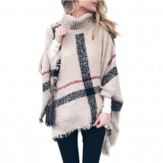 Leisure Knitting Medium Long High Collar Tassel Cloak Shawl Loose Large Sweater