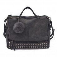 Retro Frosted Rivet Multi-function Handbag Shoulder Bag