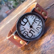 Retro Irregular Digital Funny Leather Watch