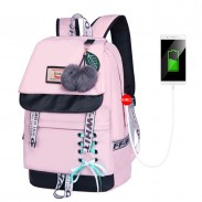 Leisure Bandage Bow Waterproof Junior High School Backpack Shoelace Style Student Backpack