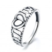 Retro Love Heart Hollow Clef with Musical Notes Sterling Silver Women's Music Note Song Ring