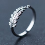Sweet Leaves Shape Diamond-bordered Silver Open Ring