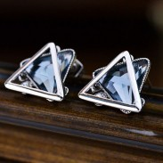 Simple Triangular Double-layer Ear Clip Crystal Diamond Silver Hollow Lady Earring Studs