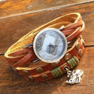 Original Wrapped Twice Cat Leather Bracelet Watch