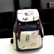 Leisure Eiffel Tower Postmark Canvas Backpack