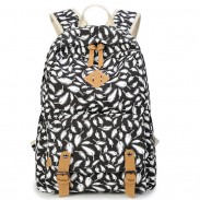 Fashion College Feather Canvas Women Rucksack Leisure Polka Dot Backpack
