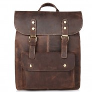 Retro Original Handmade Leather Rucksack Double Buckle British Style Large School Backpack