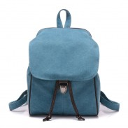 Leisure Pure Color Single Buckle Travel Bag Canvas School Backpack