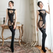 Sexy Open Crotch Stockings Perspective Bar Girl Wertical Stripe Conjoined Women's Lingerie