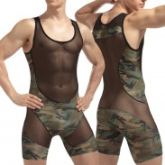 Sexy Lingerie For Man See Through One-Piece Vest Camouflage Mesh Stitching Jumpsuit Undershirts